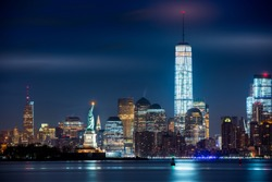 New York City and its three iconic landmarks: Statue of Liberty, Freedom Tower and Empire State Building in a single real image.
