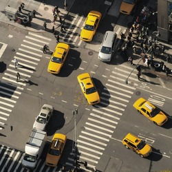 New York City and yellow cabs. Top view