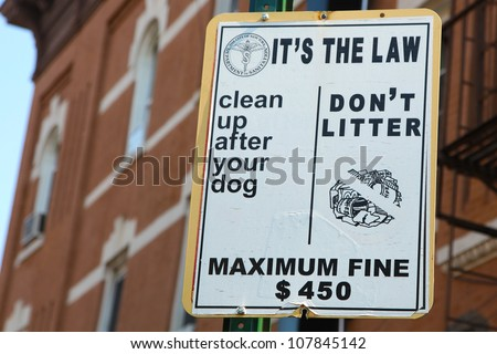 New York City Anti-Litter Sign Listing Fines & Urging to Curb Dogs