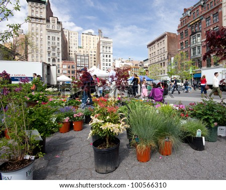 NEW YORK CITY - APR. 20: Spring plant sale at Union Square Greenmarket in NYC on Apr 20, 2012. This world famous farmers' market began in 1976 and has grown to 140 farmers during peak season.