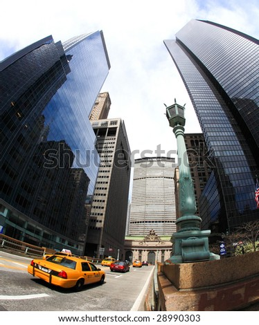 NEW YORK CITY- APRIL 17 : A fisheye view of skyscrapers on famous Park Avenue near grand central station April 17, 2009 in New York.