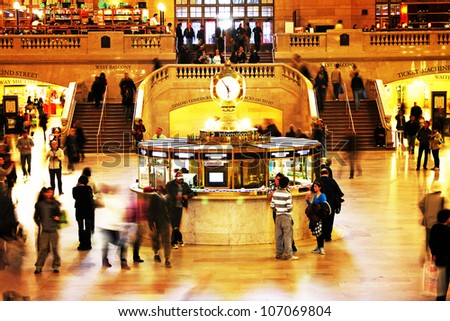 NEW YORK CITY - APRIL 18: Famous New York City landmark Grand Central Station (has more than 44 tracks and 67 platforms) full of tourists and commuters on April 18, 2011 in New York, New York.