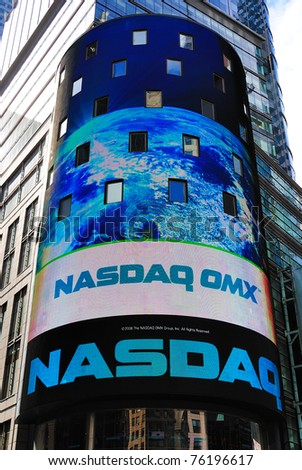 NEW YORK CITY - APRIL 18: The headquarters of the NASDAQ Stock Exchange, the second largest trading market in the world, in Times Square April 18, 2010 in New York, New York.