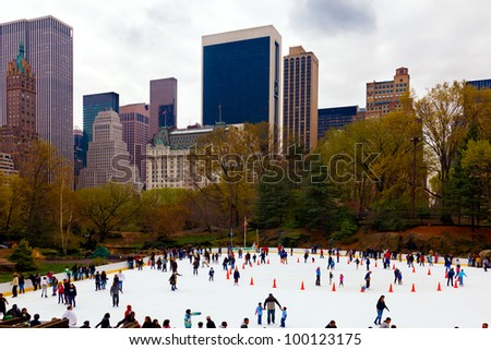 NEW YORK CITY-APRIL 1: The Trump Wollman Ice Rink in Central Park drew a big crowd today for its last day of the season in New York City on April 1, 2012.  The rink will reopen in October.