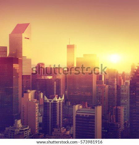 New York City at sunrise. Vintage color. #573981916