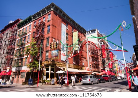 NEW YORK CITY - AUG 30:  Intersection in historic Little Italy in lower Manhattan on Aug. 30, 2012.  This landmark Italian neighborhood is known for its restaurants and annual Feast of San Genarro.
