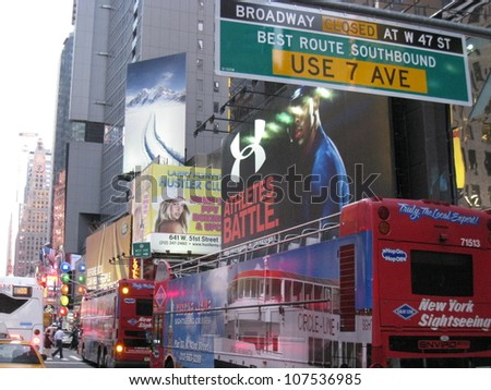 NEW YORK CITY - AUG 15: Times Square, featured with Broadway Theaters and animated LED signs, is a symbol of New York City and the United States, on August 15, 2009 in Manhattan, New York City (USA)