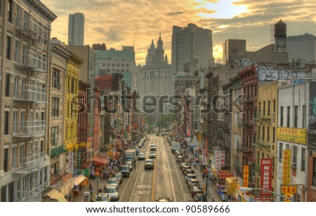 NEW YORK CITY - AUGUST 26: Chinatown in Manhattan on August 26, 2011 in New York, NY. The New York City Metropolitan Area contains the largest ethnic Chinese population outside of Asia.