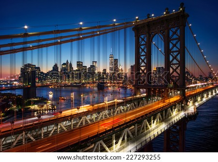 New York City - beautiful sunset over manhattan with manhattan and brooklyn bridge #227293255