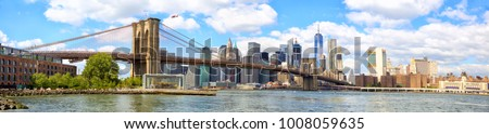 New York City Brooklyn Bridge panorama with Manhattan skyline #1008059635