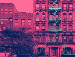 New York City building with fire escape in pink and blue vibrant color effect