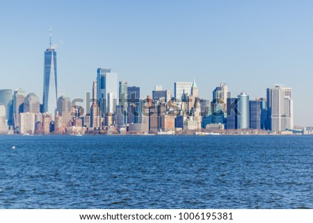 New york city buildings architecture skyline sunset #1006195381