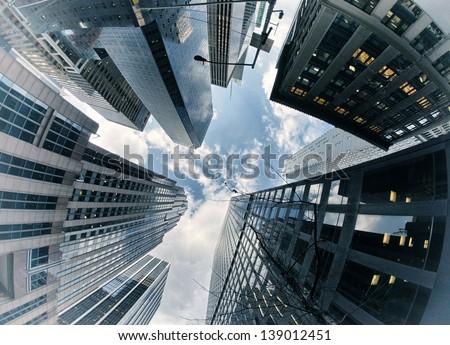 New York City buildings, upward view.