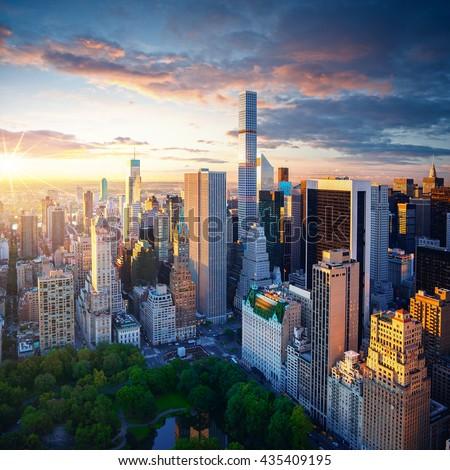 New York City Central Park at sunrise - Manhattan aerial photo #435409195