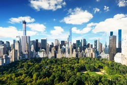 New York City - central park view to manhattan with park at sunny day - amazing birds view
