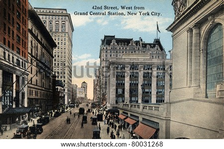 NEW YORK CITY - CIRCA 1912: Vintage postcard depicting 42ND Street, West from Grand Central Station in New York City, NY, USA, circa 1912.