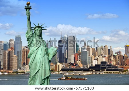 new york city cityscape.  tourism concept photograph statue of liberty over hudson river. beautiful midtown Manhattan skyline cityscape from nyc city
