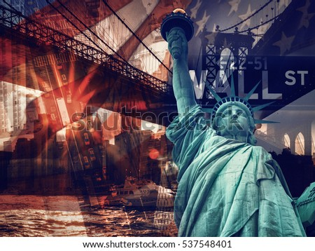 New York City collage including the Statue of Liberty and several other worldwide famous landmarks #537548401