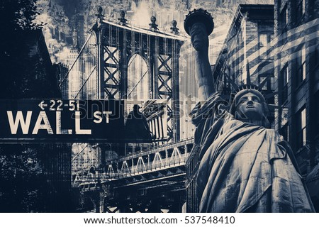 New York City collage including the Statue of Liberty and several other worldwide famous landmarks #537548410