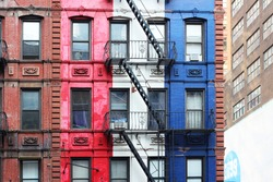 New York City Colorful Building and Staircase