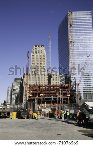 NEW YORK CITY - DEC 16: Construction at the site of the September 11,2001 bombing of the World Trade Center on December 16, 2010 in New York City.