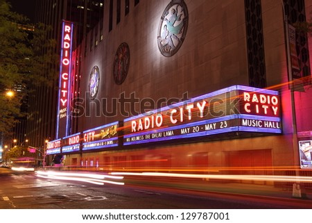NEW YORK CITY - DEC. 25: Radio City Music Hall in Rockefeller Center is home of the Rockettes and famous annual Christmas Spectacular on Dec. 25, 2010, New York City, NY.