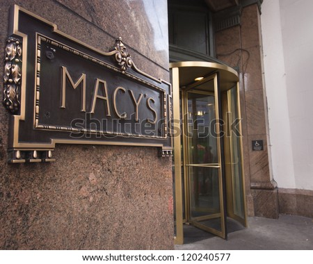 NEW YORK CITY - DEC 2:  Sign at entrance of Macy's department store in Herald Square, NYC on Dec 2, 2011.  This building was added to the National Register of Historic Places as a landmark in 1978.