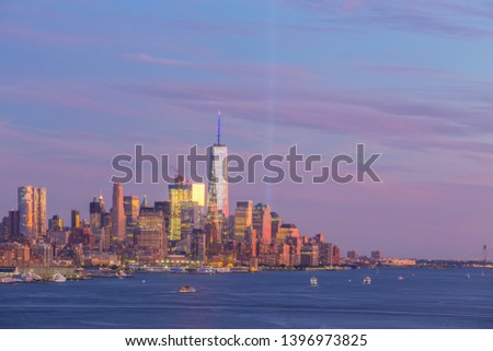 New York City downtown Manhattan sunset skyline panorama view over Hudson River in USA #1396973825