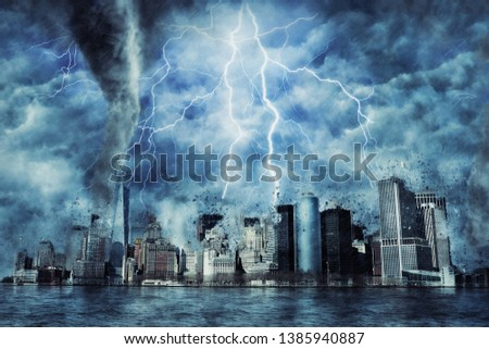 New York City during the heavy storm, rain and lighting in New York, creative picture.
