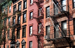 New York City East village building details with fire escapes