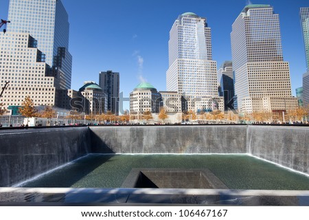 NEW YORK CITY - FEB. 3: NYC's 9/11 Memorial at World Trade Center Ground Zero seen on Feb. 3, 2012. The memorial was dedicated on the 10th anniversary of the Sept. 11, 2001 attacks.