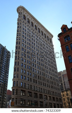 NEW YORK CITY - FEB 22: The Flatiron Building, as seen on February 22, 2011, was designed by Chicago's Daniel Burnham as a vertical Renaissance palazzo with Beaux-Arts styling. It is located in Manhattan, New York City.