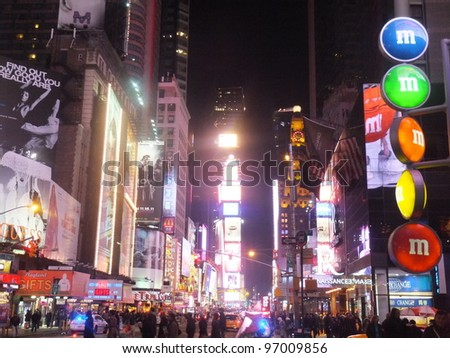 NEW YORK CITY - FEB 18: Times Square, featured with Broadway Theaters and animated LED signs, is a symbol of New York City and the United States, on February 18, 2012 in Manhattan, New York City (USA)