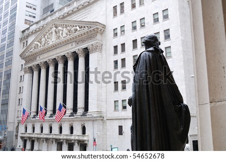 NEW YORK CITY - FEB 3: Washington Statue and New York Stock Exchange in Wall Street during United States economy recovery, February 3, 2010 in Manhattan, New York City.
