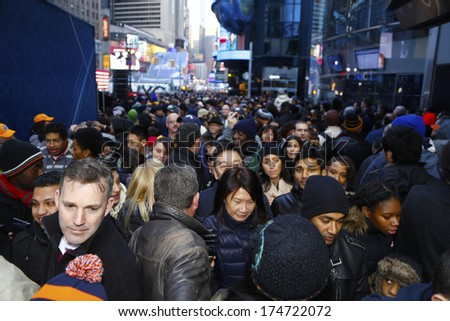 New York City - February 1 2014: Super Bowl Boulevard Filled Thirteen Midtown Blocks With Games &Amp; Promotions In Anticipation Of Super Bowl 48. Magnitude Of Crowds Filling Broadway Between 44th &Amp; 45th