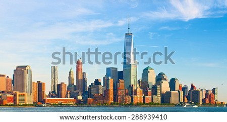 New York City, financial business buildings in Manhattan on a late summer afternoon #288939410