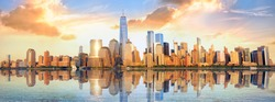 New York City financial district panorama over Hudson River