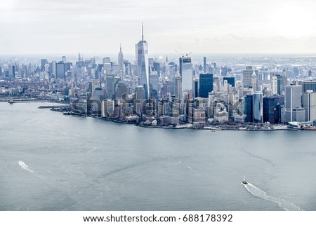 New York City from Helicopter #688178392