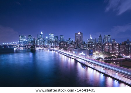 New York City highway traffic at night