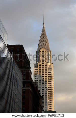 NEW YORK CITY - JAN 02, 2012: Chrysler building facade on January 02, 2012 in New York City. The world's tallest building (319 m) before it was surpassed by the Empire State Building in 1931