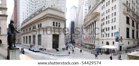 NEW YORK CITY - JAN 1: Wall Street panorama with New York Stock Exchange in Manhattan Finance district during United States economy recovery, January 1, 2010 in Manhattan, New York City.