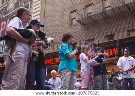 NEW YORK CITY - 14 JULY 2012: Broadway Barks marks its 14th year with a celebrity-studded adoption fair in Shubert Alley. Judy Kaye et. al. present adoptable mutts on 14 July 2012 in New York City.