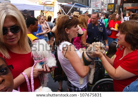NEW YORK CITY - 14 JULY 2012: Broadway Barks marks its 14th year with a celebrity-studded adoption fair in Shubert Alley. Potential puppy parents mingle on 14 July 2012 in New York City.