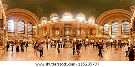 NEW YORK CITY - JULY 18: Interior of Grand Central Station on  July 18, 2012 in New York City, NY. The terminal is the largest train station in the world by number of platforms having 44.