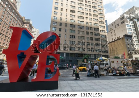 NEW YORK CITY - JULY 12: Love sculpture on July 12, 2012 in New York. LOVE is a sculpture by American artist Robert Indiana.