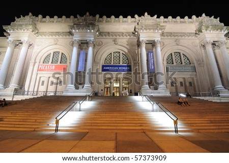 NEW YORK CITY - JULY 15: Night time view of the architecturally impressive Metropolitan Museum of Art July 15, 2010 in New York, NY. The museum holds some of the world's most precious works of art.