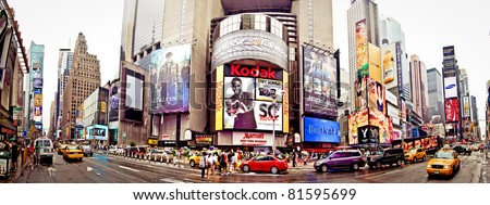 NEW YORK CITY - JULY 3: Panoramic shot of Times Square, featured with Broadway Theaters and animated LED signs, is a symbol of New York, July 3, 2011 in Manhattan, New York City.