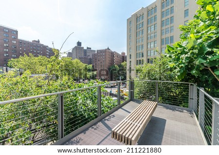 NEW YORK CITY - JULY 22: Scenic views of the High Line Park on July 22, 2014. The High Line is a popular linear park built on the elevated former New York Central Railroad spur in Manhattan.