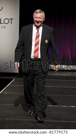NEW YORK CITY - JULY 25: Sir Alex Ferguson walks fashion runway at Hublot 'Art of Fusion' fashion show with Sir Alex Ferguson & Manchester United at Cipriani, Wall Street on July 25, 2011 in New York City, NY