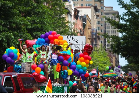 NEW YORK CITY - 24 JUNE 2012: Greenwich Village's annual gay pride parade & festival commemorates the anniversary of the Stonewall Riots on 25 June 2012 in New York City